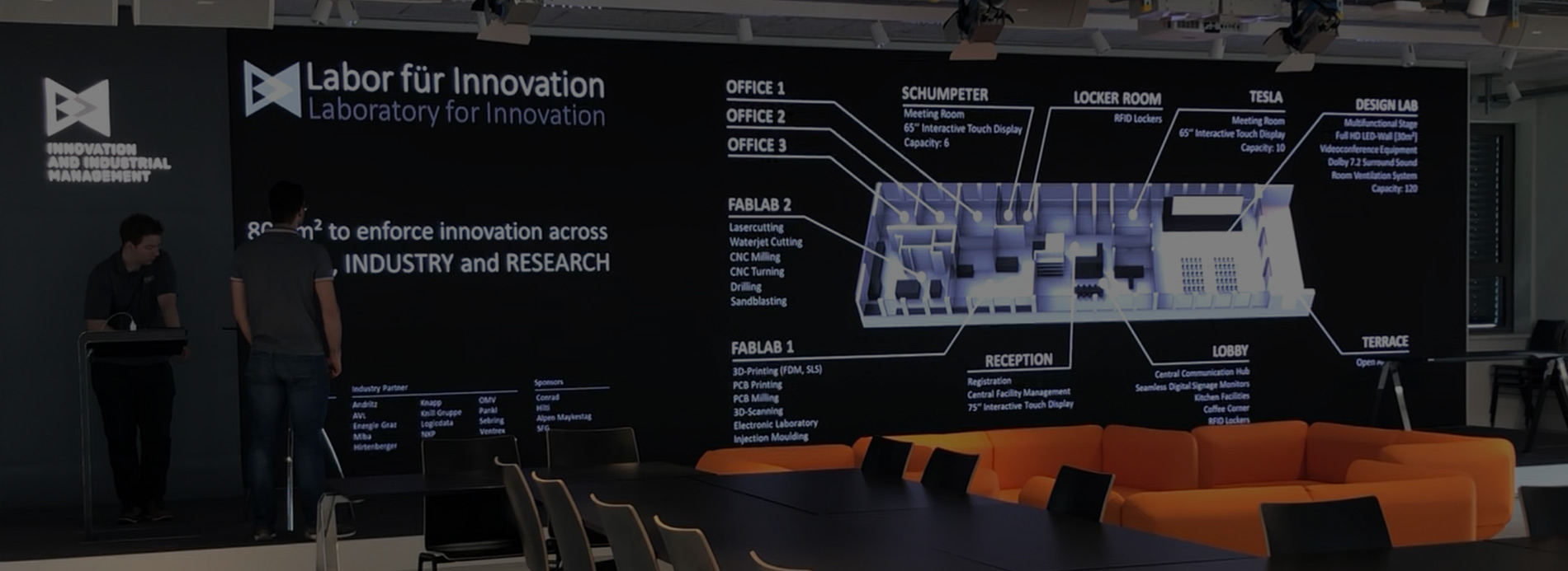 Konferenzraum LED-Display der Universität Graz